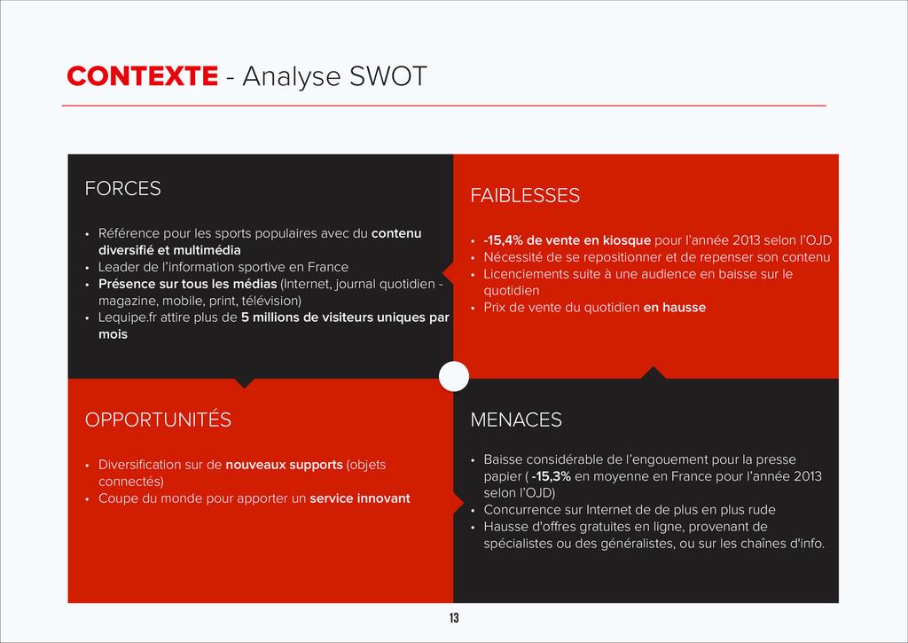 13 CONTEXTE - Analyse SWOT FORCES ! • Référence...