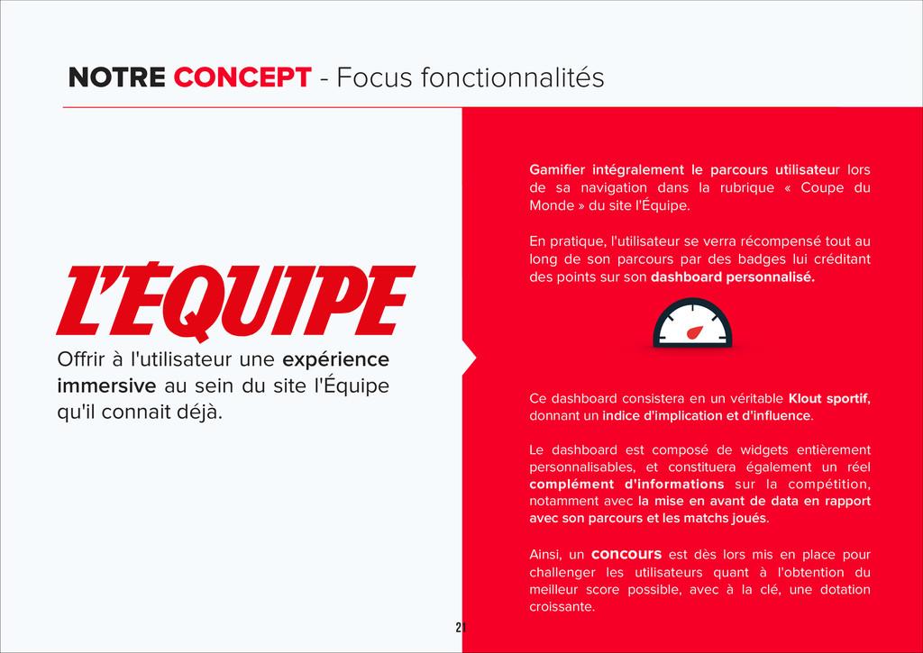 21 NOTRE CONCEPT - Focus fonctionnalités Offrir...