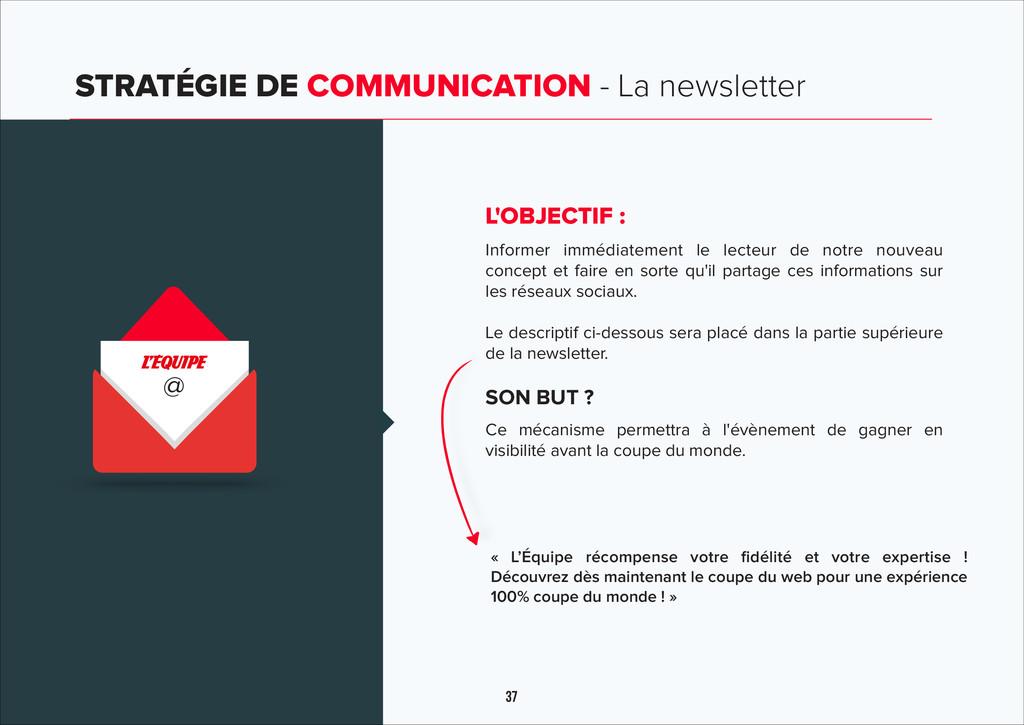 37 STRATÉGIE DE COMMUNICATION - La newsletter @...