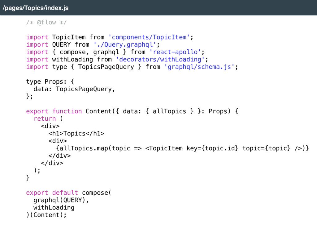 /pages/Topics/index.js /* @flow */  import To...