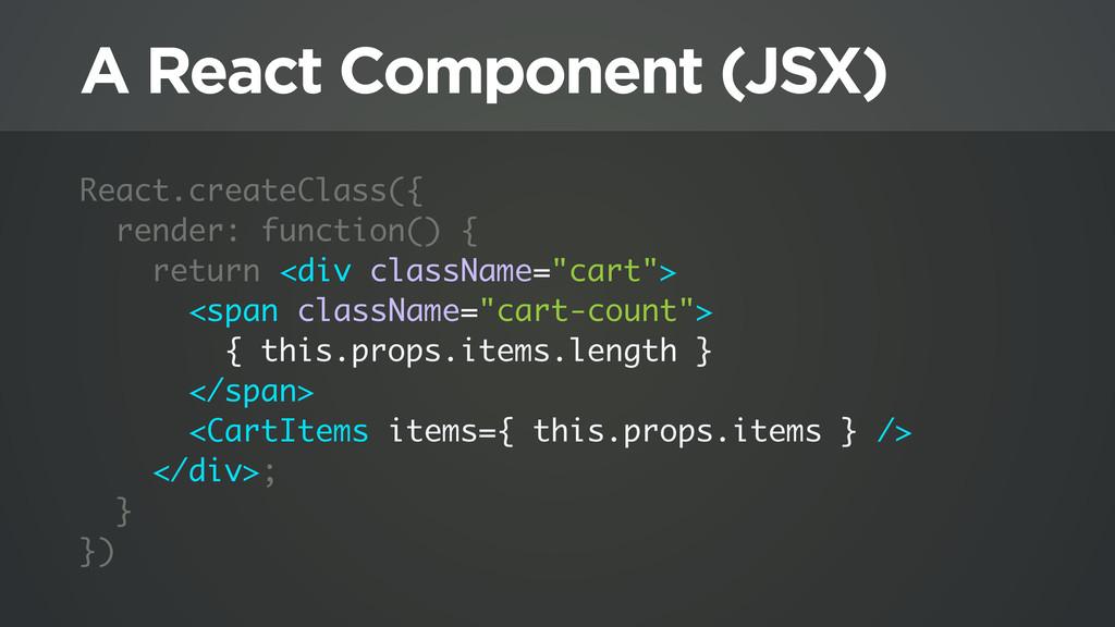 A React Component (JSX) React.createClass({ ren...