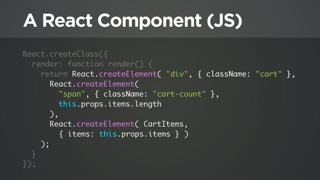 A React Component (JS) React.createClass({ rend...