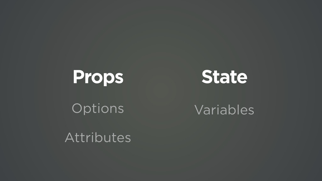Props State Options Attributes Variables