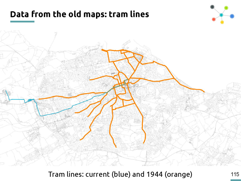 115 Data from the old maps: tram lines Tram lin...