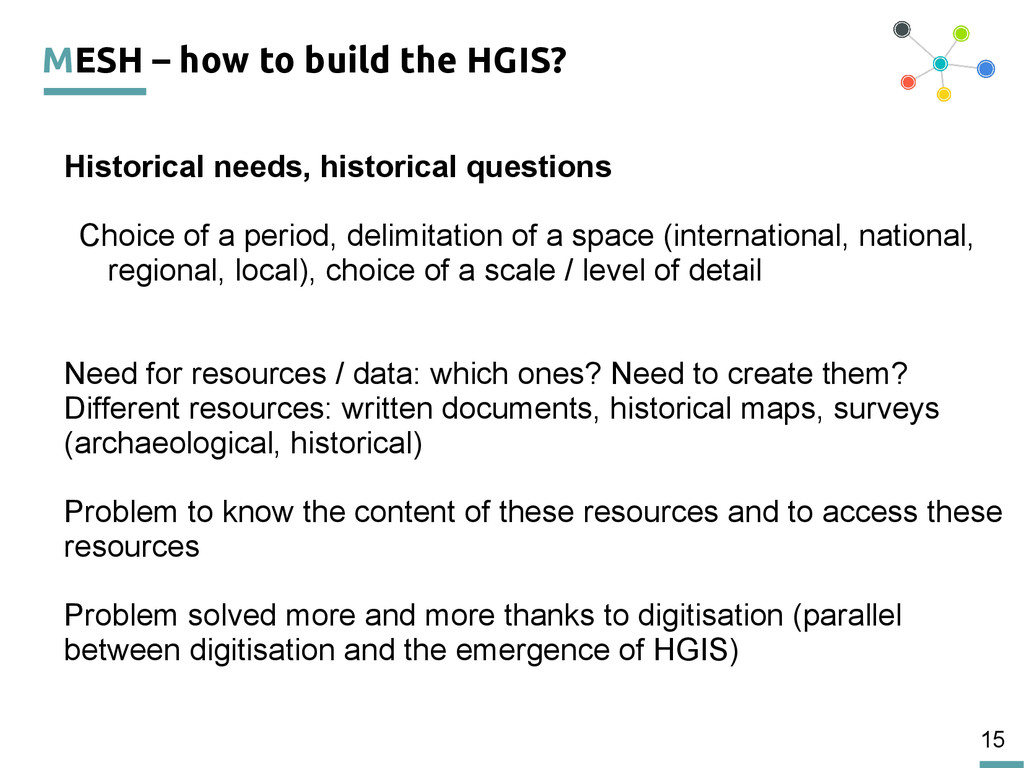 15 MESH – how to build the HGIS? Historical nee...
