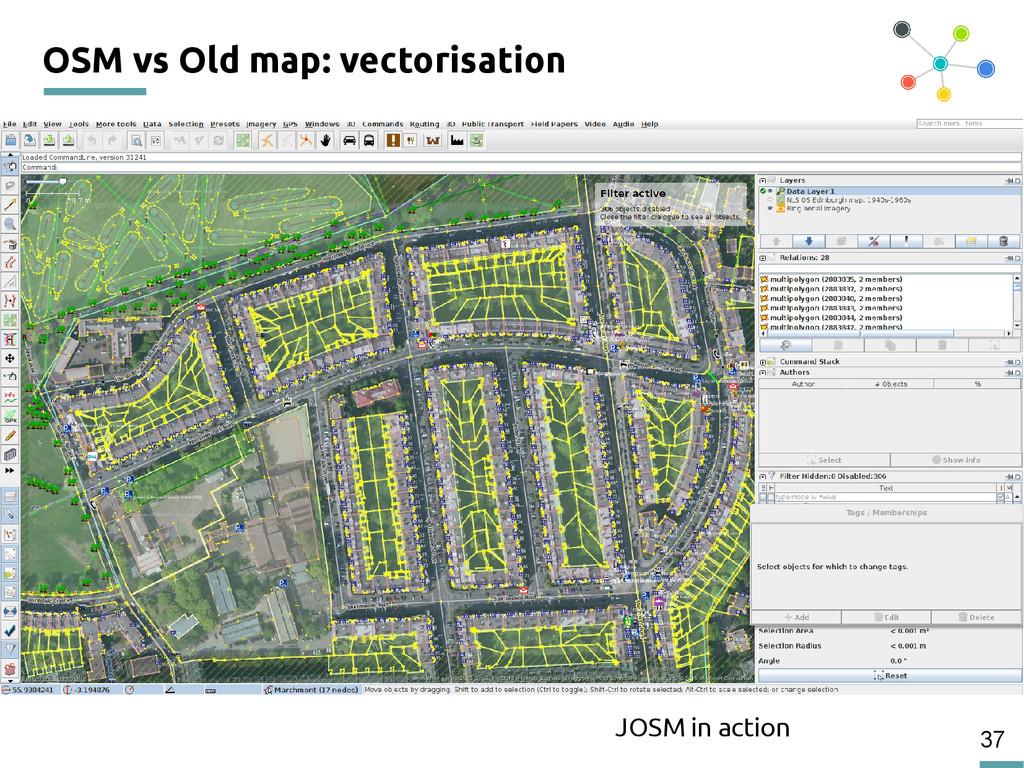 37 OSM vs Old map: vectorisation JOSM in action