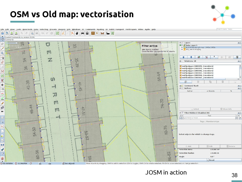 38 OSM vs Old map: vectorisation JOSM in action