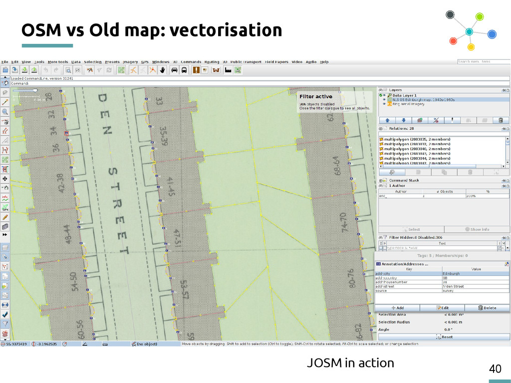 40 OSM vs Old map: vectorisation JOSM in action