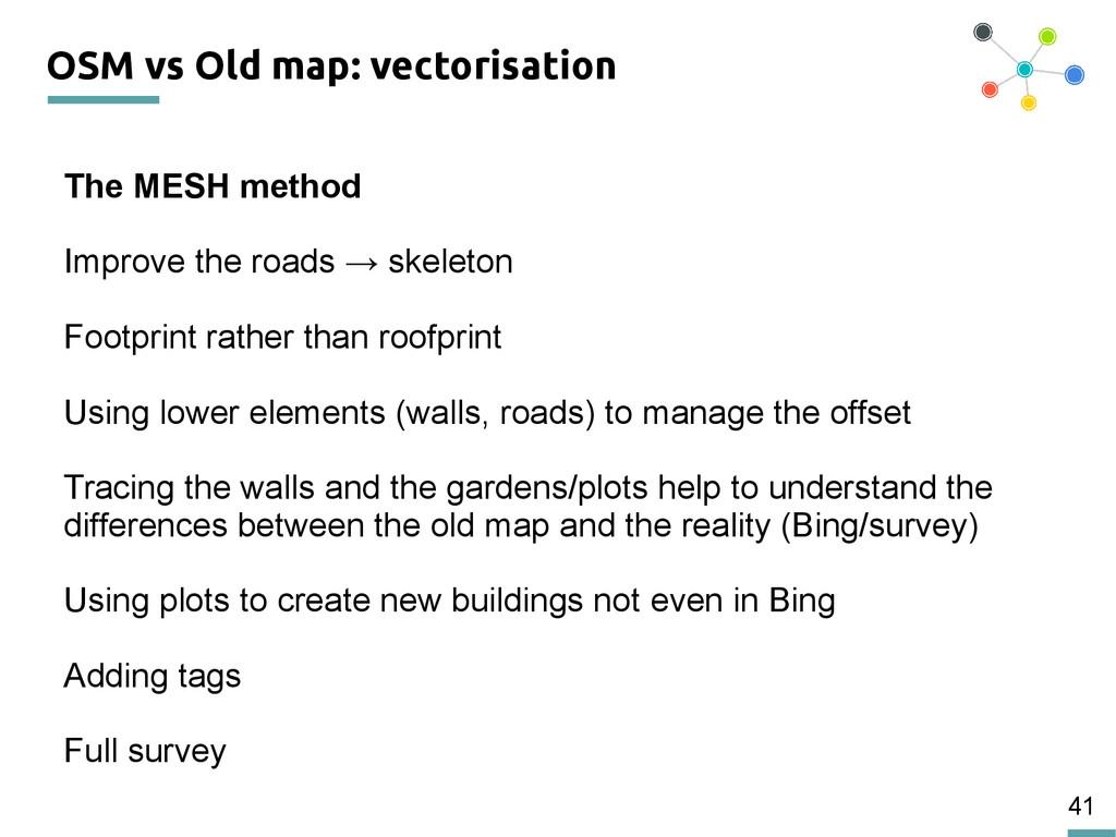 41 OSM vs Old map: vectorisation The MESH metho...