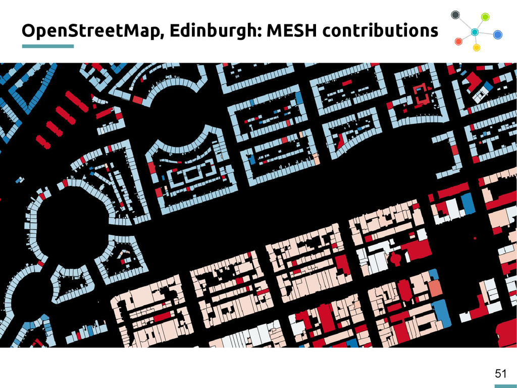51 OpenStreetMap, Edinburgh: MESH contributions