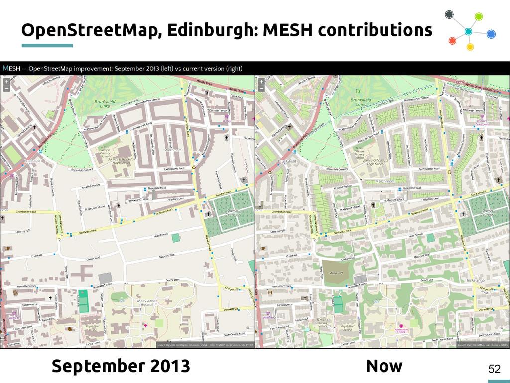52 OpenStreetMap, Edinburgh: MESH contributions...