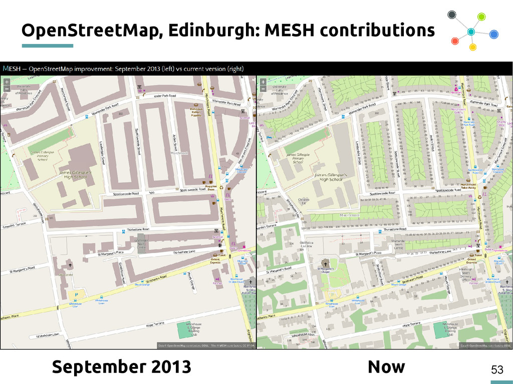 53 OpenStreetMap, Edinburgh: MESH contributions...