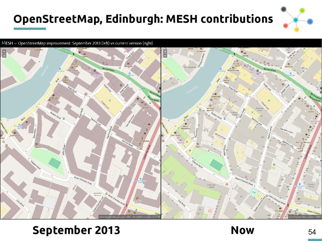 54 OpenStreetMap, Edinburgh: MESH contributions...