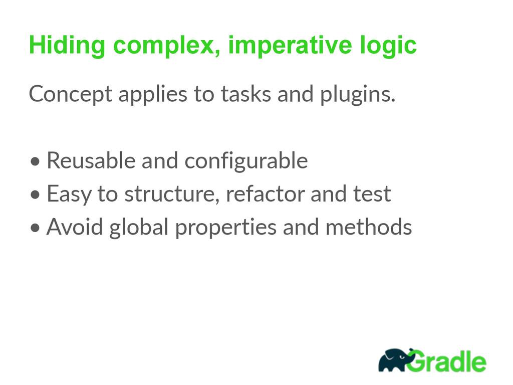 Hiding complex, imperative logic Concept appli...