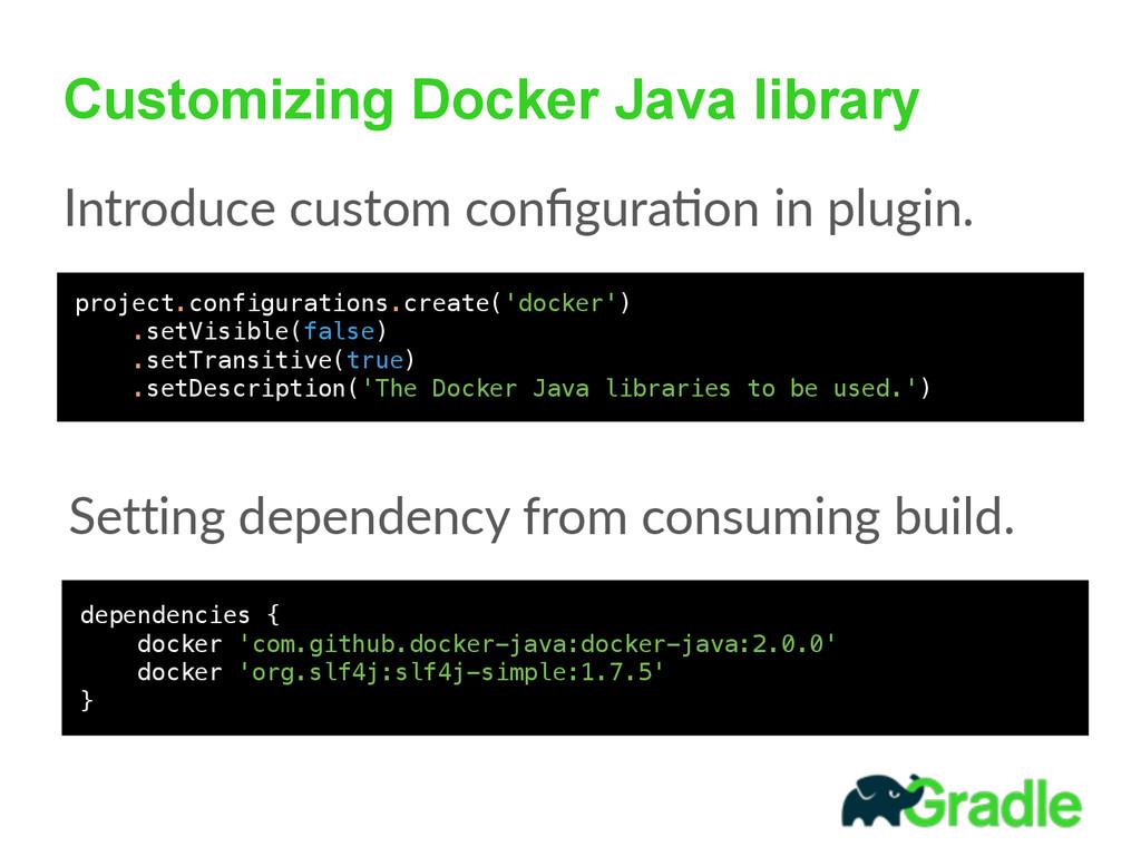 Customizing Docker Java library Introduce cust...