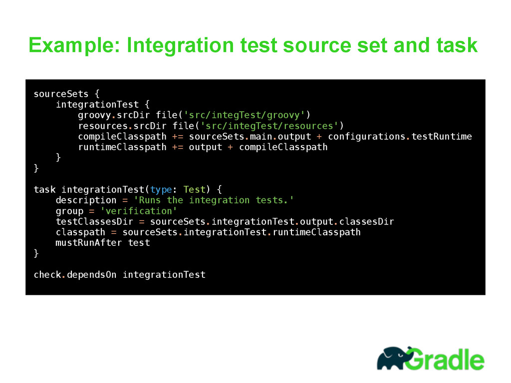 Example: Integration test source set and task ...