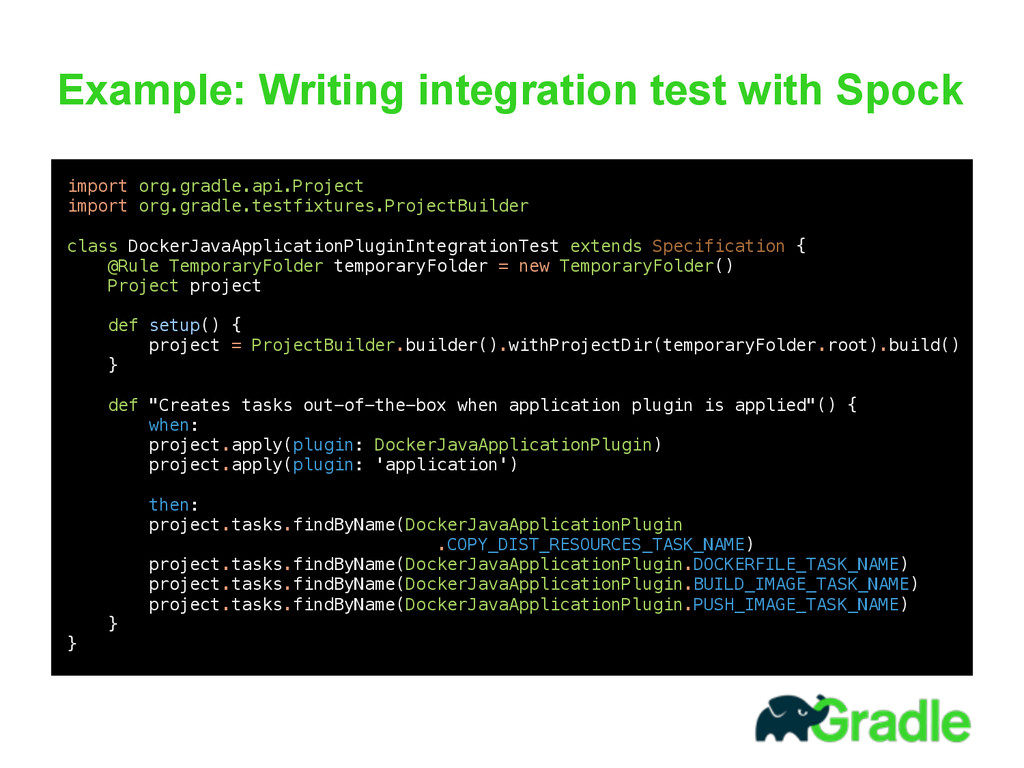 Example: Writing integration test with Spock  ...