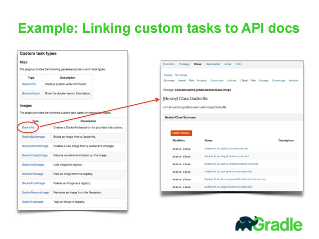 Example: Linking custom tasks to API docs