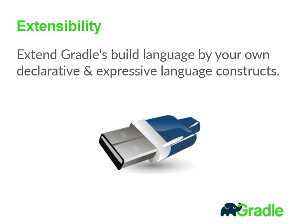 Extensibility Extend Gradle's build language...