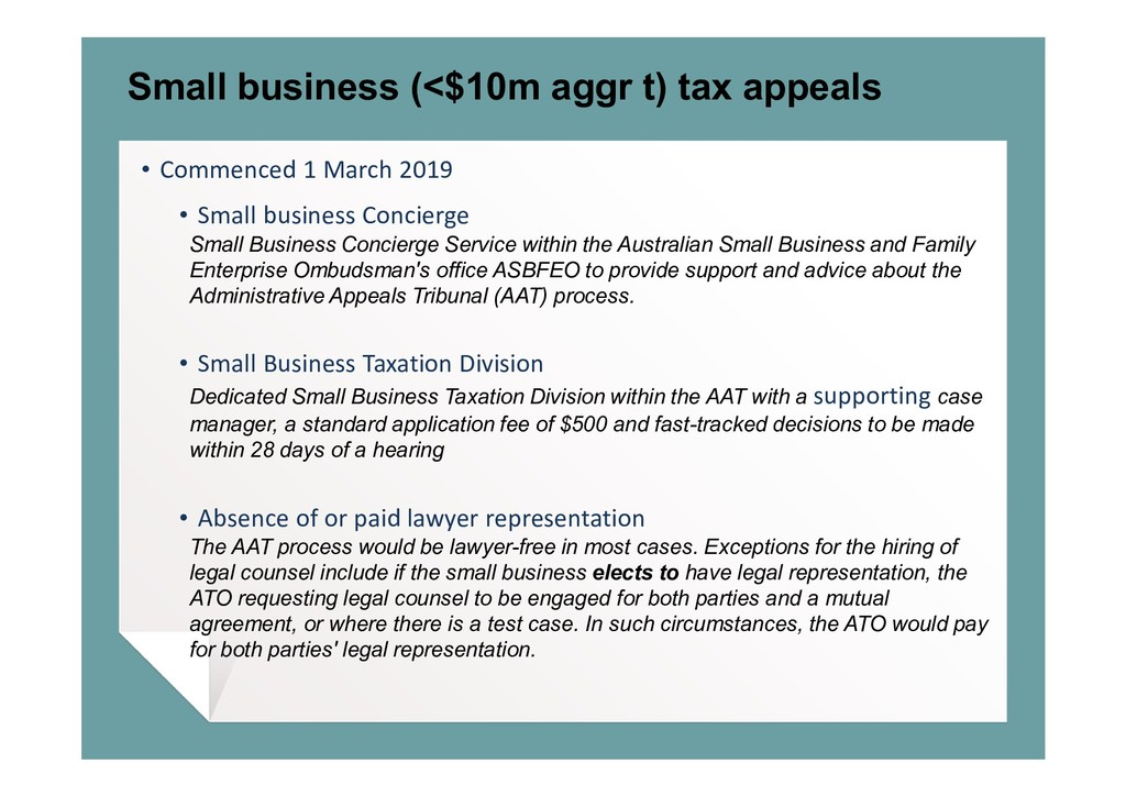 Small business (<$10m aggr t) tax appeals • Com...