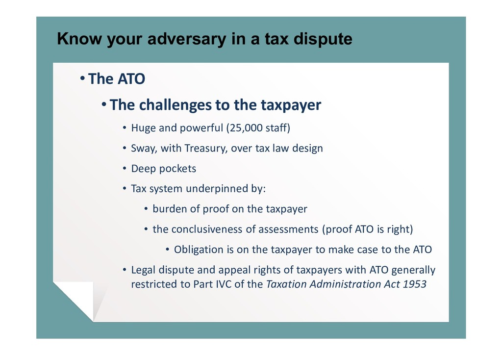 Know your adversary in a tax dispute • The ATO ...