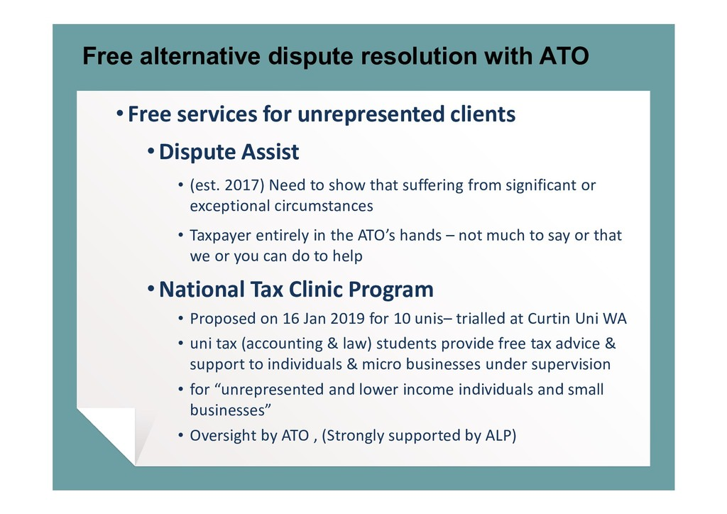 Free alternative dispute resolution with ATO • ...