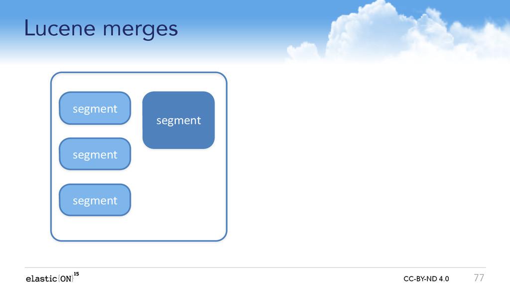{ } CC-BY-ND 4.0 Lucene merges 77 segment segme...