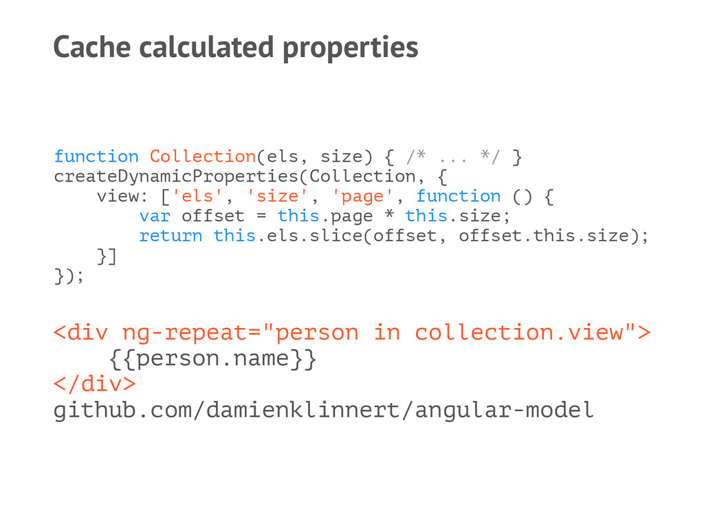Cache calculated properties function Collection...