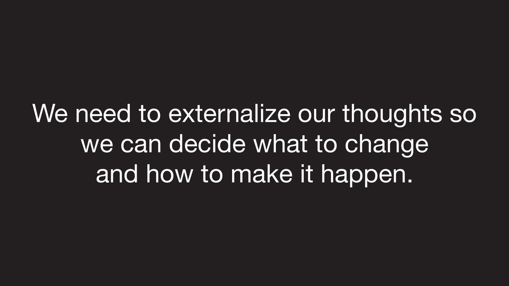 We need to externalize our thoughts so we can d...