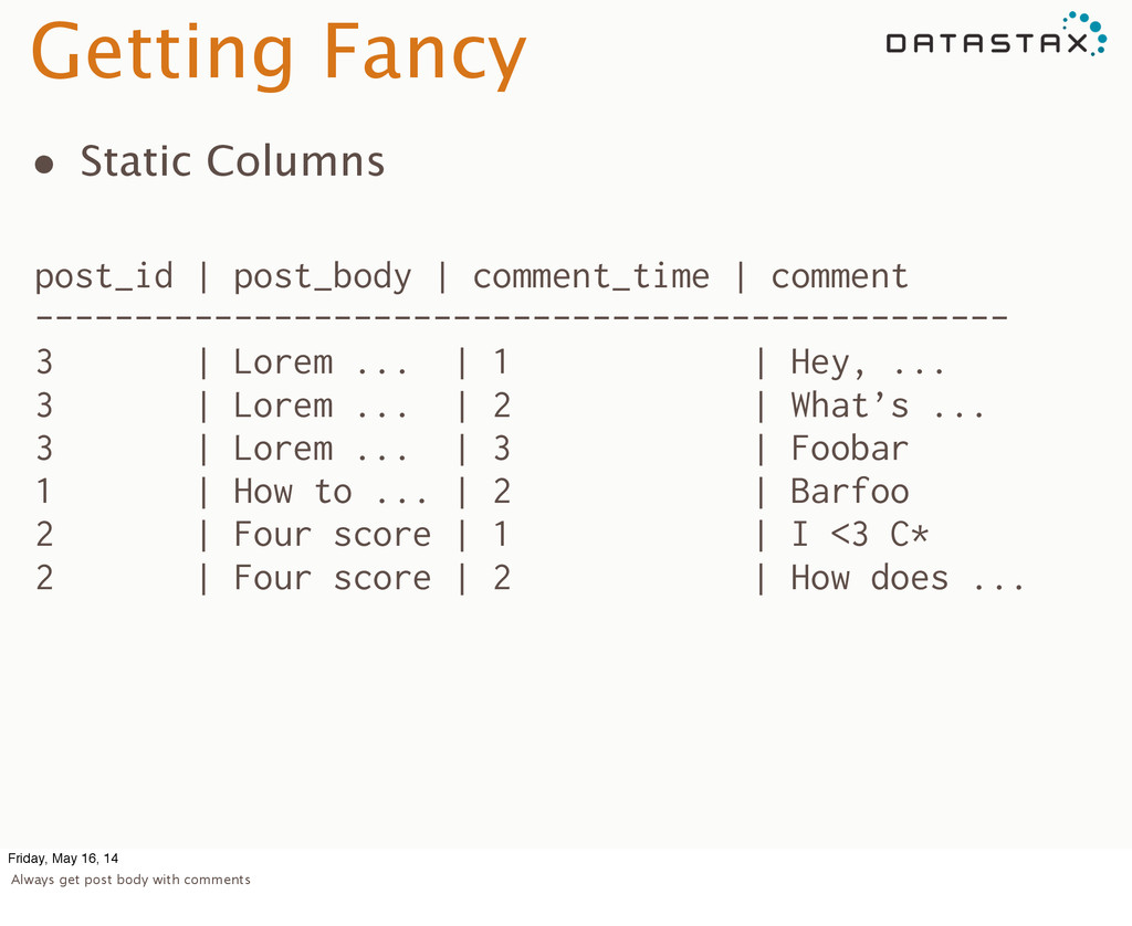 Getting Fancy • Static Columns post_id | post_b...