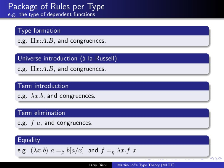 Package of Rules per Type e.g. the type of depe...