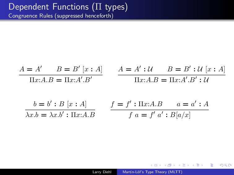 Dependent Functions (Π types) Congruence Rules ...