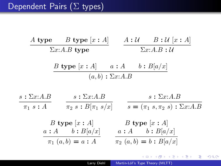 Dependent Pairs (Σ types) A type B type [x : A]...