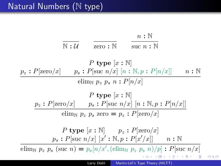 Natural Numbers (N type) N : U zero : N n : N s...