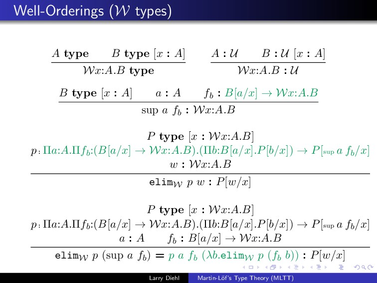 Well-Orderings (W types) A type B type [x : A] ...