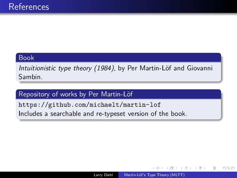 References Book Intuitionistic type theory (198...