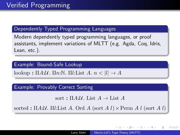 Verified Programming Dependently Typed Programmi...