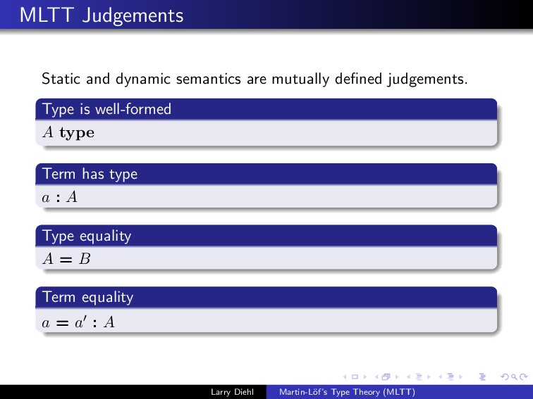 MLTT Judgements Static and dynamic semantics ar...