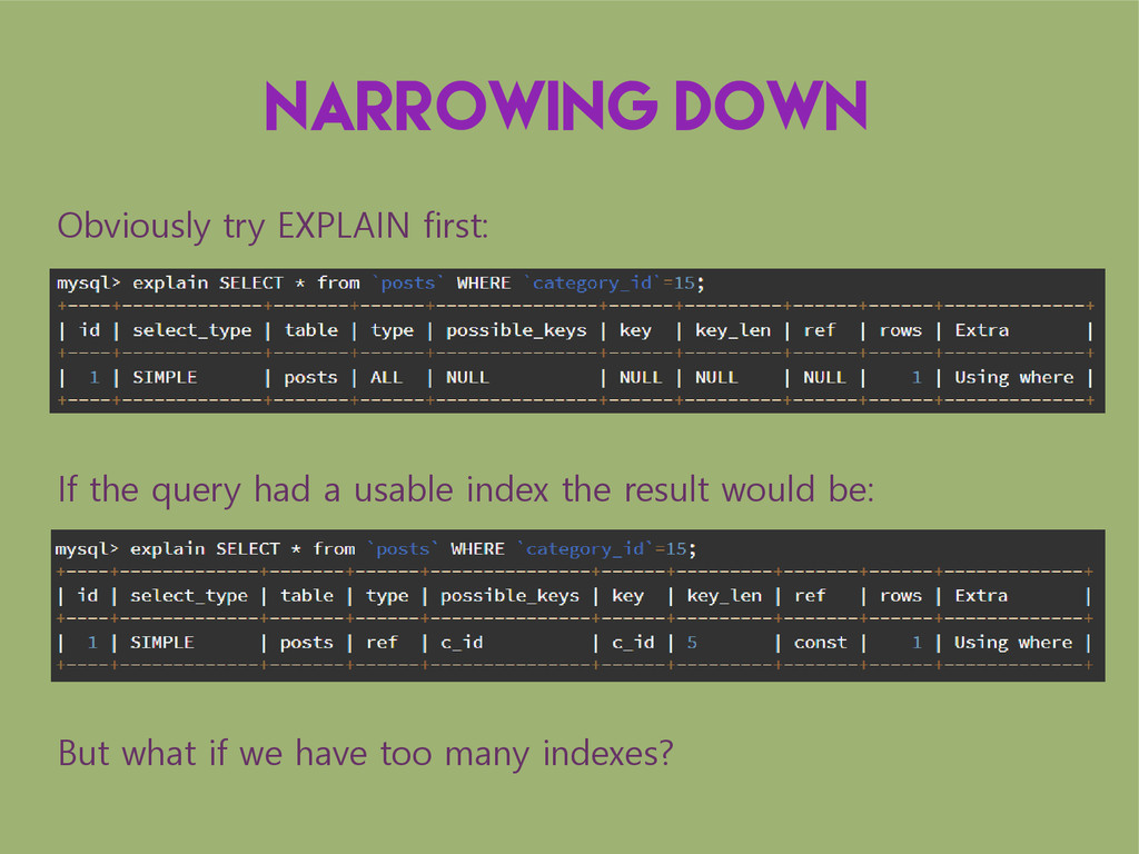 Narrowing down Obviously try EXPLAIN first: If ...