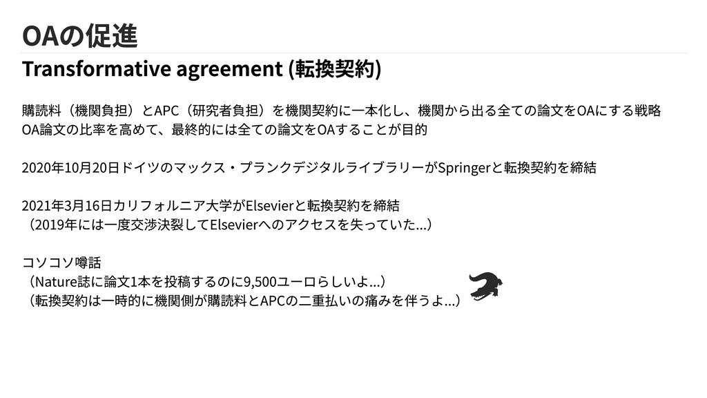 OAの促進 Transformative agreement (転換契約) 購読料(機関負担)...