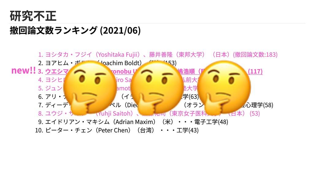 研究不正 撤回論文数ランキング (2021/06) we ヨシタカ・フジイ(Yoshitaka...