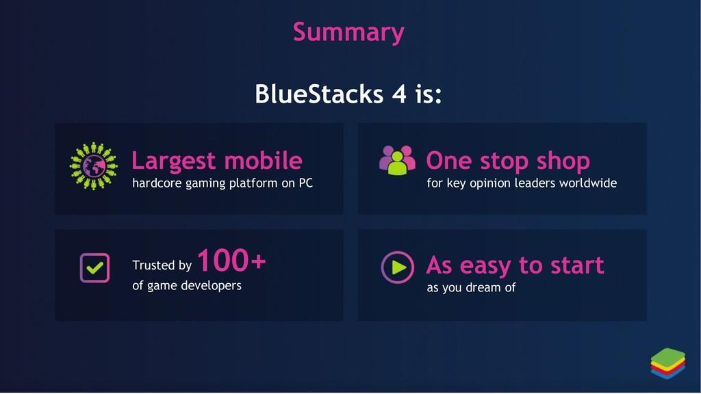 Summary BlueStacks 4 is: Largest mobile hardcor...