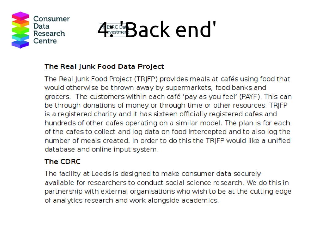 4: 'Back end'