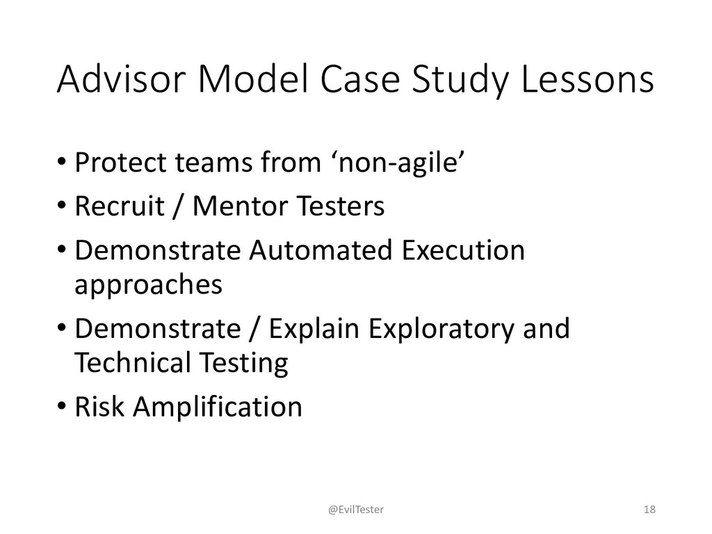 Advisor Model Case Study Lessons • Protect team...