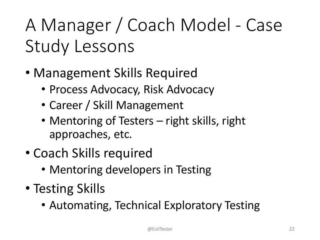 A Manager / Coach Model - Case Study Lessons • ...
