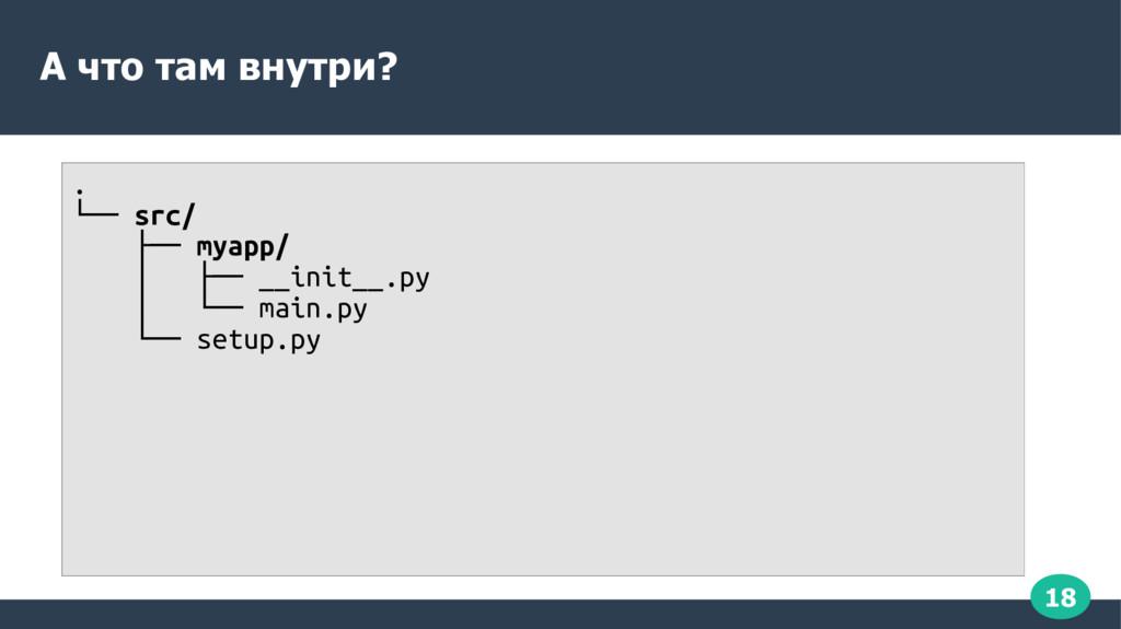 18 А что там внутри? . └── src/ ├── myapp/ │ ├─...