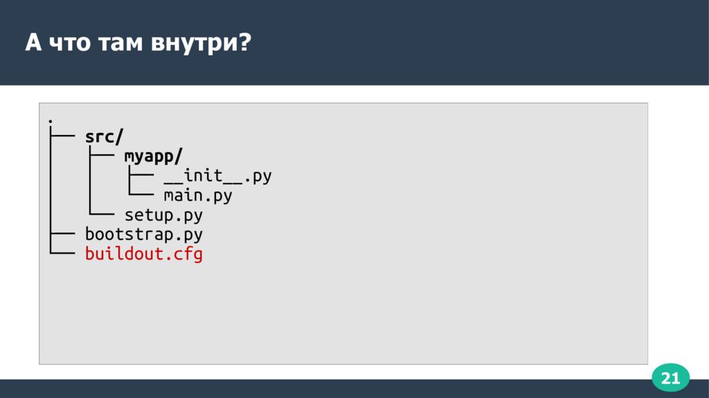 21 А что там внутри? . ├── src/ │ ├── myapp/ │ ...