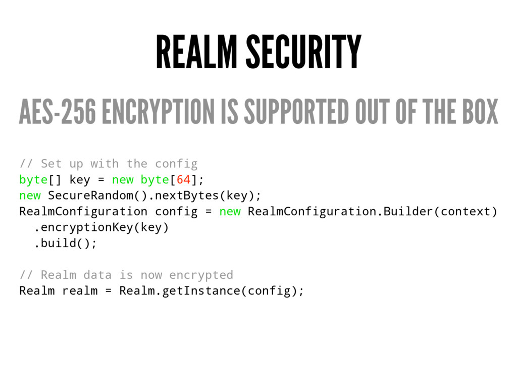 REALM SECURITY AES-256 ENCRYPTION IS SUPPORTED ...