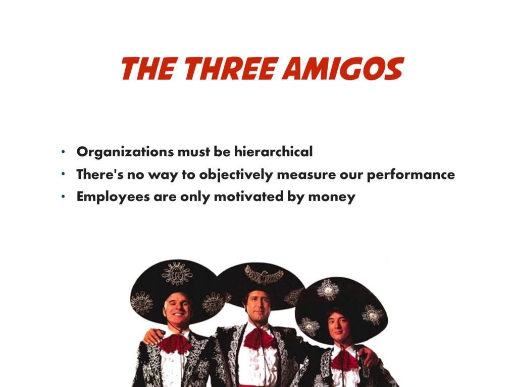 THE THREE AMIGOS • Organizations must be hierar...