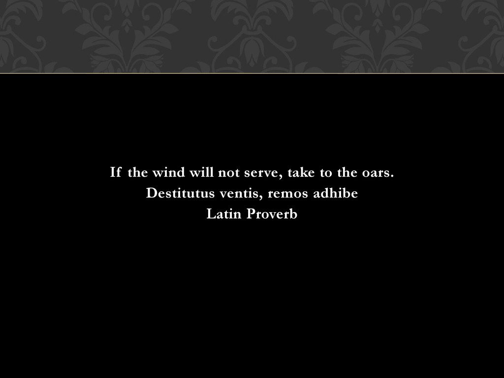 If the wind will not serve, take to the oars. D...